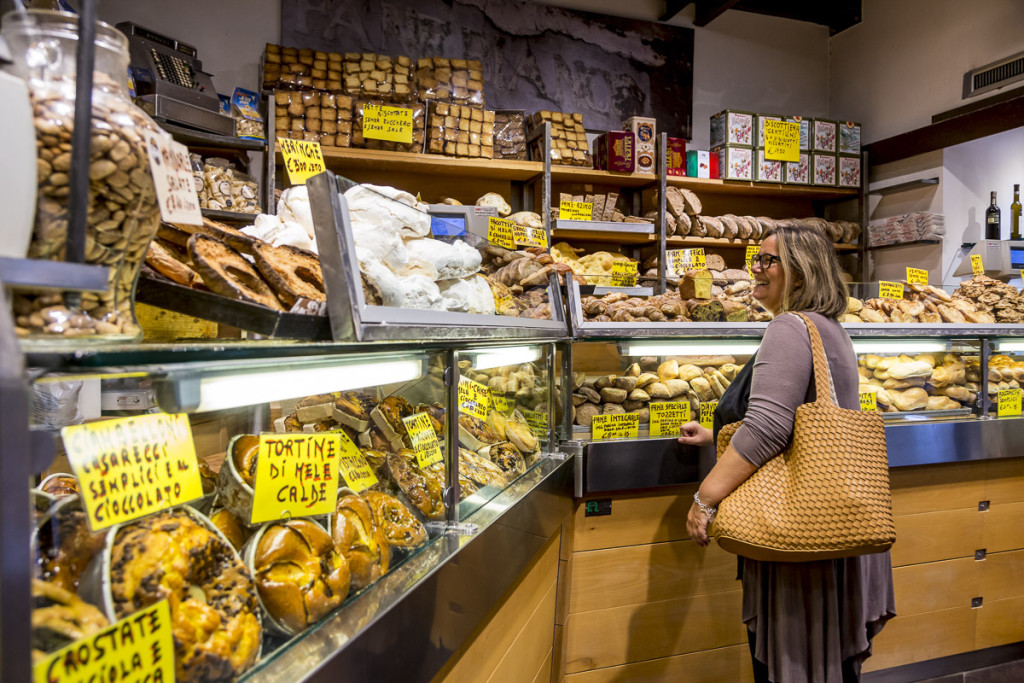 Buying bread at Antico Forno Roscioli bakery in Rome