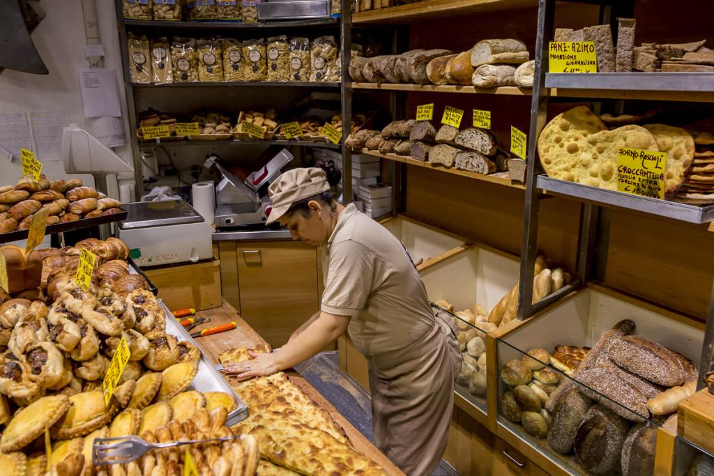Pizza bianca at Antico Forno Roscioli bakery in Rome