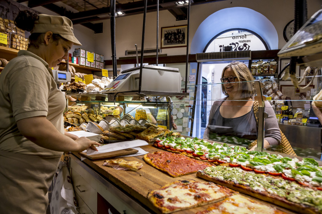 Pizza by the slice at Antico Forno Roscioli bakery in Rome