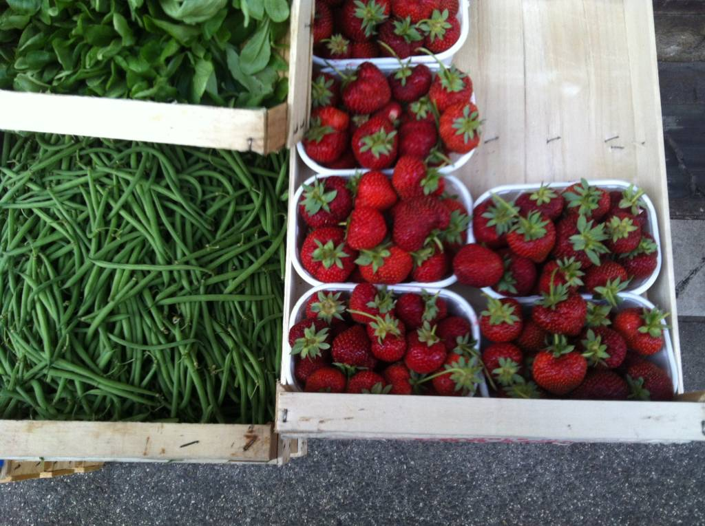 baby lettuce, string beans and strawberries