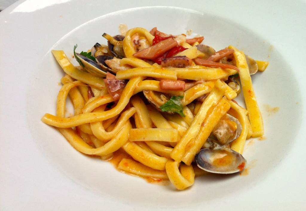 Scialatielli homemade pasta with seafood
