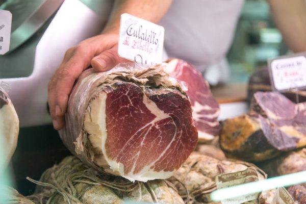 Culatello sold at La Tradizione gourmet deli in Rome
