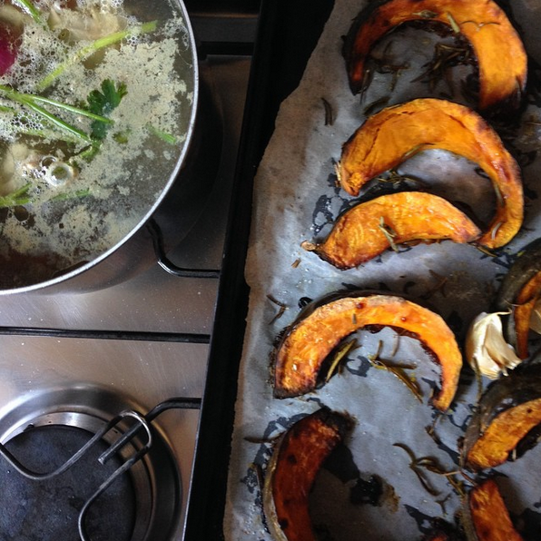 roasted pumpkin and good stock for risotto