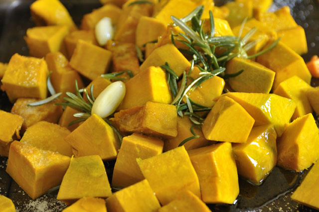 diced pumpkin for risotto