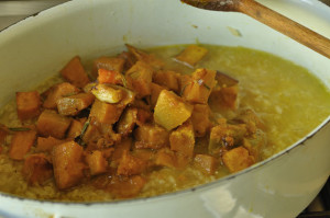 roasted pumpkin is the trick to tasty risotto