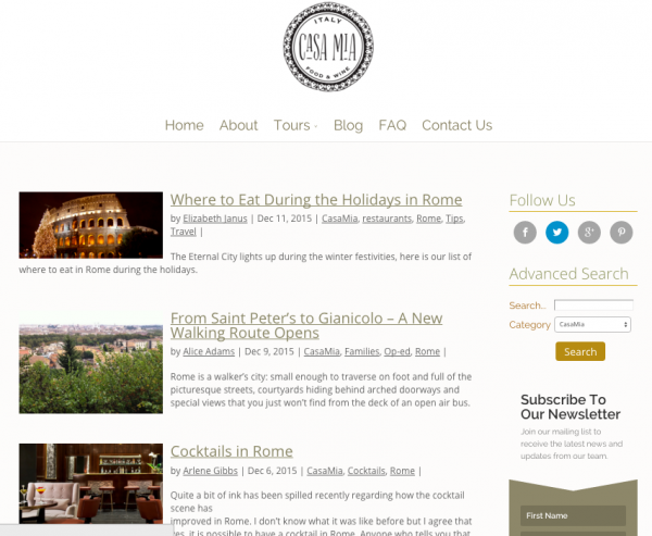 Casa Mia nominated for Best Travel Blog