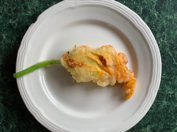 stuffed and fried zucchini blossoms