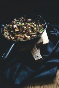 mushrooms and mint