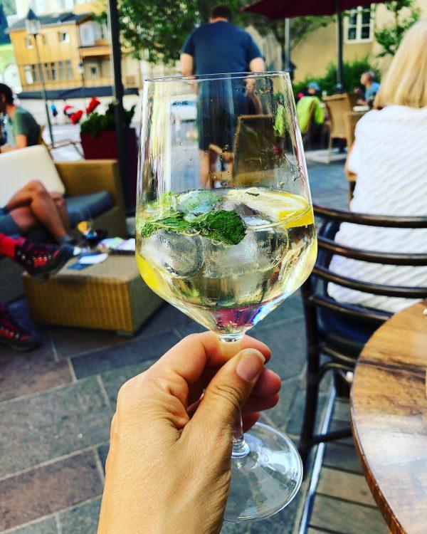 enjoying a Hugo cocktail in South Tyrol