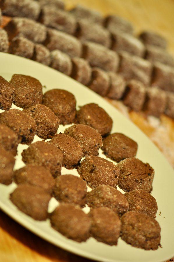 chocolate, rice flour and coffee cookies