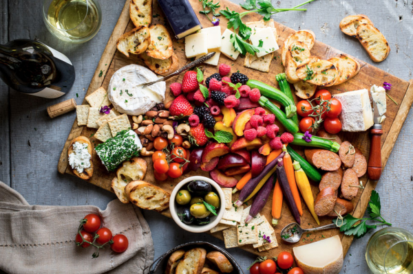 a platter of summer cheeses