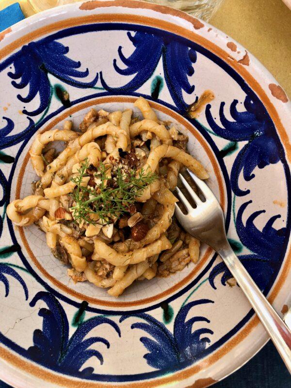 homemade busiate pasta in Marsala, Sicily