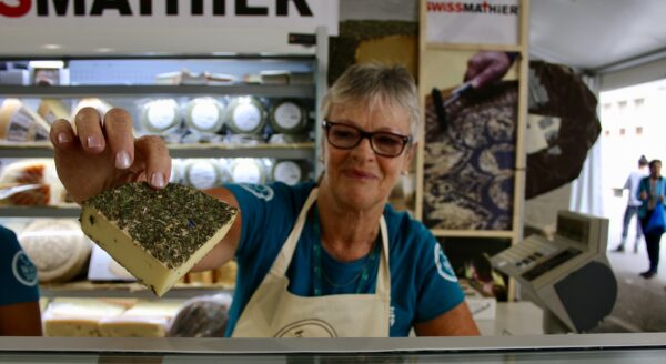 Swiss herb-coated cheese at the festival